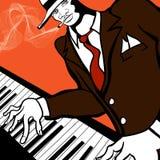 Giocatore di piano di jazz Fotografie Stock Libere da Diritti