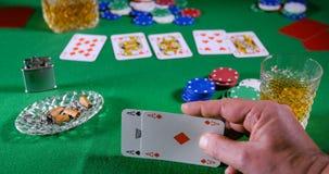 Giocatore di poker con una buona mano Immagine Stock Libera da Diritti