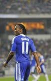 Giocatore di randello di gioco del calcio di Chelsea Didier Drogba Fotografia Stock Libera da Diritti
