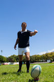 Giocatore di rugby che dà dei calci alla palla sul campo erboso Fotografie Stock