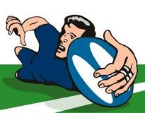 Giocatore di rugby che nota una prova sopra Immagine Stock