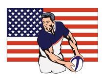 Giocatore di rugby che passa sfera royalty illustrazione gratis