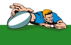 Giocatore di rugby che scroring una prova Immagini Stock