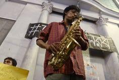 Giocatore di sassofono Immagini Stock