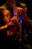 Giocatore di sassofono nello spettacolo dal vivo Immagine Stock Libera da Diritti