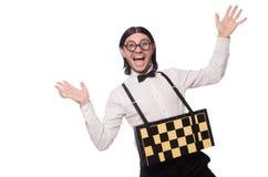 Giocatore di scacchi del nerd isolato Fotografia Stock Libera da Diritti
