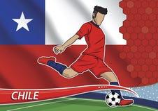 Giocatore di squadra di calcio in peperoncino rosso uniforme Immagine Stock Libera da Diritti