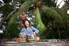 Giocatore di Tabla con capelli in su Fotografia Stock Libera da Diritti
