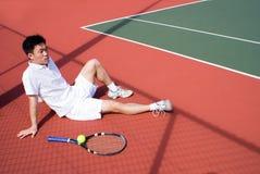 Giocatore di tennis asiatico Fotografia Stock Libera da Diritti