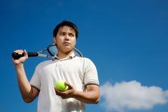 Giocatore di tennis asiatico Fotografie Stock Libere da Diritti