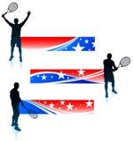 Giocatore di tennis ed insieme della bandiera degli Stati Uniti Fotografia Stock