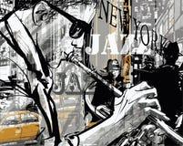 Giocatore di tromba di jazz in una via di New York royalty illustrazione gratis