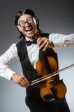 Giocatore divertente del violino delle fiddle Fotografie Stock