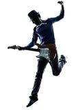 Giocatore elettrico del chitarrista dell'uomo che gioca siluetta immagini stock libere da diritti