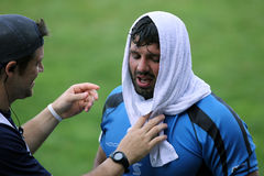 Giocatore esaurito di rugby Fotografie Stock