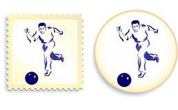 Giocatore maschio di calcio (gioco del calcio) sul bollo e sul tasto Fotografie Stock