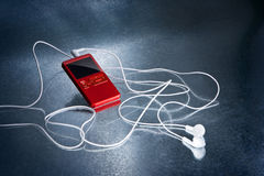 Giocatore mp3 rosso Fotografia Stock