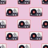 Giocatore per illustrazione d'annata di vettore del grammofono del suono senza cuciture piano del modello di musica del disco di  Fotografia Stock Libera da Diritti
