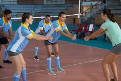 Giocatori che praticano con l'allenatore di pallavolo Immagine Stock