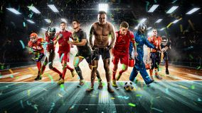 Giocatori degli sport differenti sulla rappresentazione dello stadio 3D del vollayball fotografia stock libera da diritti