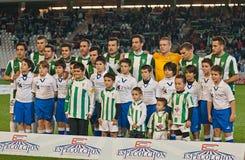 Giocatori dell'allineamento iniziale di Cordova C.F. durante la lega Cordova della partita (W) contro Numancia (r) (1-0) allo Stad Fotografie Stock