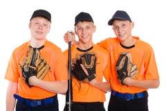 Giocatori di baseball con i guanti ed il pipistrello Fotografia Stock
