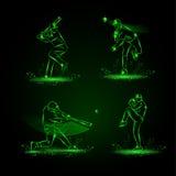 Giocatori di baseball messi Stile al neon Immagine Stock