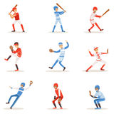 Giocatori di baseball professionisti su The Field che gioca a baseball, sportivi della lega nell'insieme dell'uniforme delle illu Immagini Stock