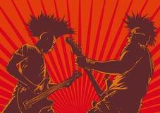 Giocatori di chitarra punk Immagini Stock