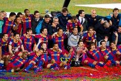 Giocatori di FC Barcellona che celebrano la lega fotografie stock libere da diritti