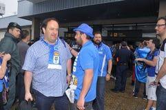 Giocatori di football americano da Oviedo reale sull'arrivo all'aeroporto delle Asturie Fotografia Stock Libera da Diritti