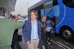 Giocatori di football americano da Oviedo reale sull'arrivo all'aeroporto delle Asturie Immagine Stock