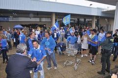 Giocatori di football americano da Oviedo reale sull'arrivo all'aeroporto delle Asturie Immagini Stock