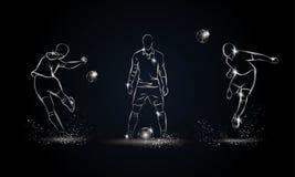 Giocatori di football americano messi Illustrazione lineare metallica del calciatore Immagine Stock