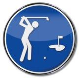Giocatori di golf e golf del segno Fotografia Stock Libera da Diritti