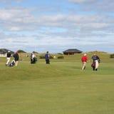 Giocatori di golf sul terreno da golf immagini stock