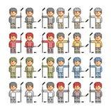 Giocatori di hockey divertenti di arte del pixel Fotografia Stock Libera da Diritti