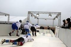 Giocatori di hockey su ghiaccio Belgio Fotografia Stock
