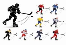 Giocatori di hockey su ghiaccio nell'insieme nazionale del jersey Immagine Stock Libera da Diritti