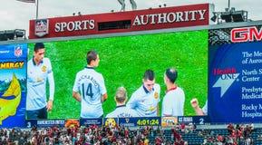Giocatori di Manchester United sullo schermo Fotografie Stock