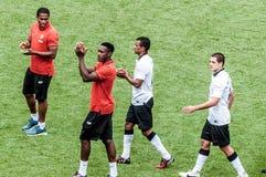 Giocatori di Manchester United sullo schermo Fotografia Stock