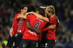Giocatori di Osasuna che celebrano obiettivo Immagine Stock