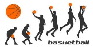 Giocatori di pallacanestro differenti stabiliti di pose in siluette Fotografia Stock