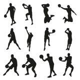 Giocatori di pallacanestro, insieme delle siluette di vettore royalty illustrazione gratis