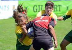 Giocatori di rugby dei bambini Fotografia Stock Libera da Diritti