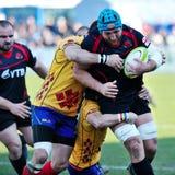 Giocatori di rugby durante la Romania contro Georgia in tazza europea di nazioni allo stadio nazionale Fotografia Stock Libera da Diritti