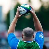 Giocatori di rugby durante la Romania contro l'Italia emergente in tazza europea di nazioni Fotografia Stock