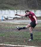 Giocatori di rugby nell'azione Immagini Stock Libere da Diritti