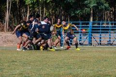 Giocatori di rugby nell'azione immagine stock