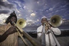 Giocatori di trombone cubani Fotografia Stock